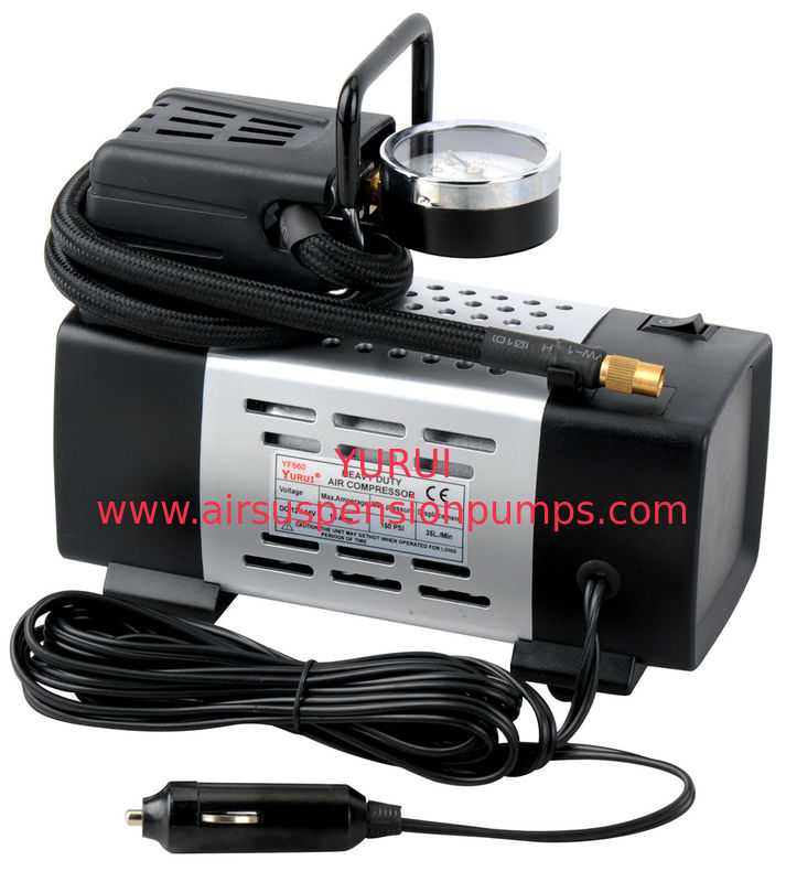 Portable Metal Air Compressor 150PSI 12V Powerful Inflation With  2 Nozzle Adaptors
